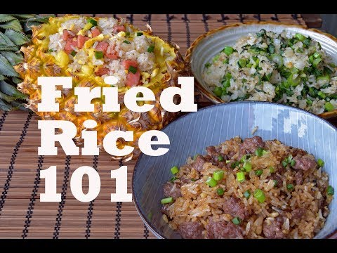 How to Make Any Fried Rice - Three Flavors and Recipes (沙茶牛肉炒饭/菠萝炒饭/菜心炒饭)