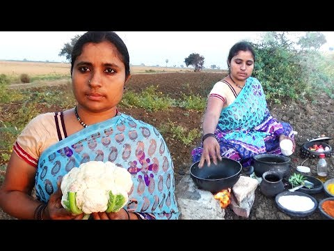 How to Cut Up Cauliflower (Gobi) And South Indian Style Cooking Cauliflower Recipe - Villages Foods