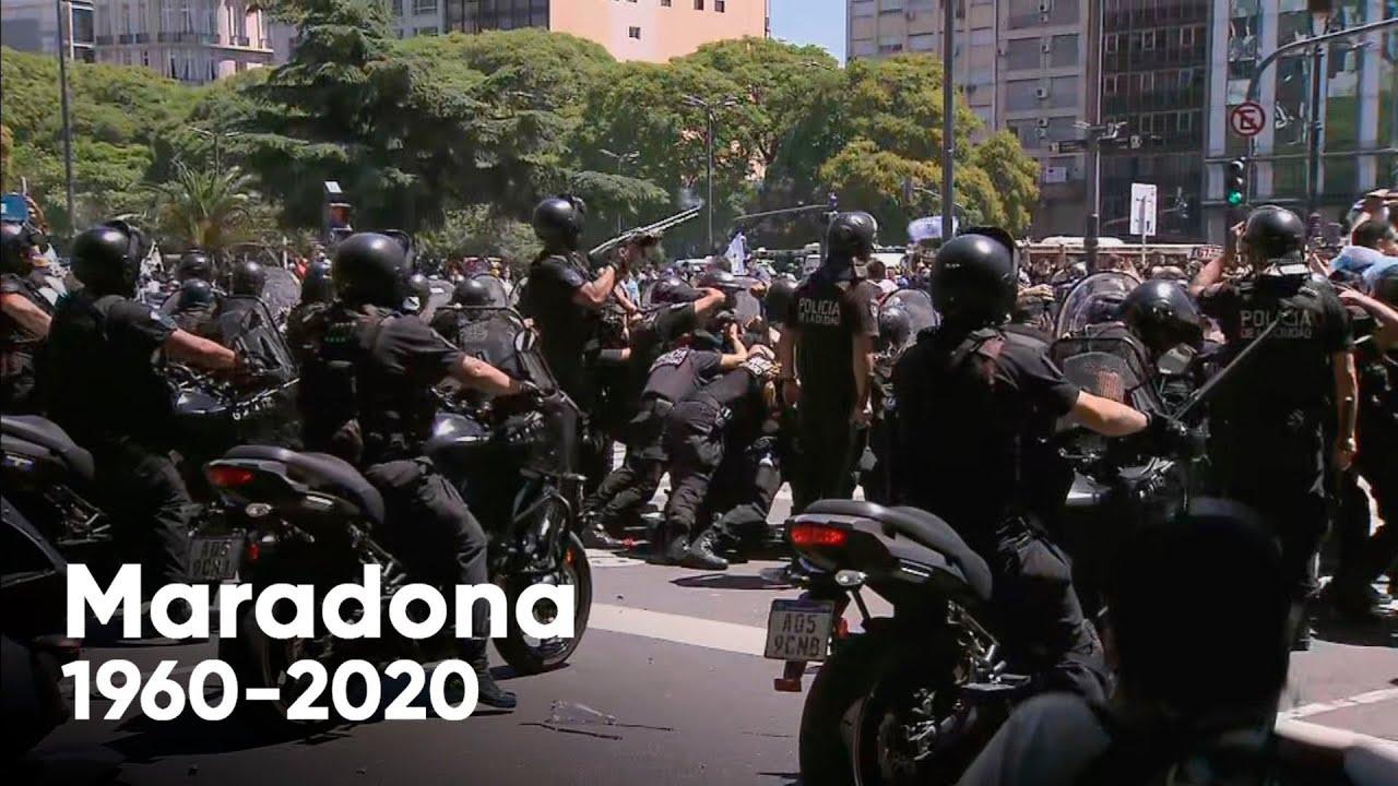 Incidentes en el funeral de Maradona: cerraron el ingreso y hubo corridas, balas de goma y detenidos