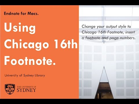 Using Chicago 16th footnote with Endnote for Mac