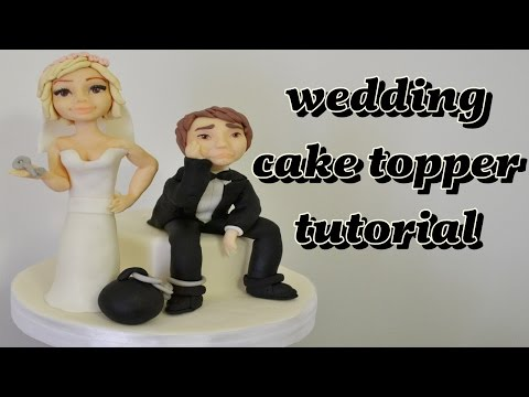wedding cake topper fondant tutorial - sposi in pasta di zucchero torta decorata