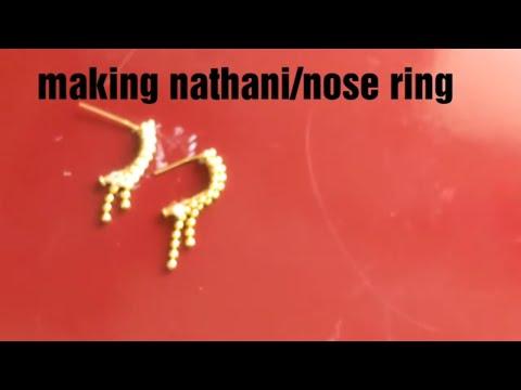 How to make nose ring/Maharashtra style nathani/nattu/moognattu for Laxmi idol