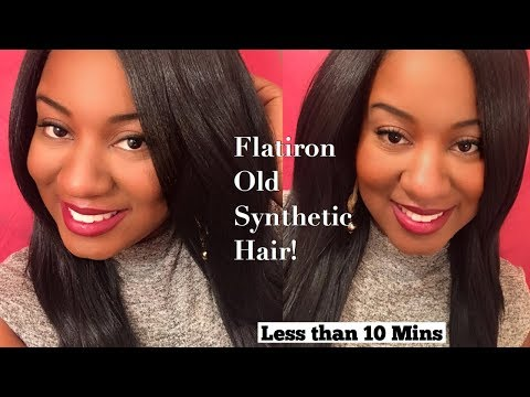 HOW TO RESTORE AND STRAIGHTEN OLD SYNTHETIC WIG | LESS THAN 10 MINS | Love Britt Woods