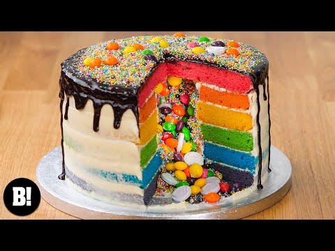 RAINBOW PIÑATA CAKE | BOSH! | VEGAN CAKE
