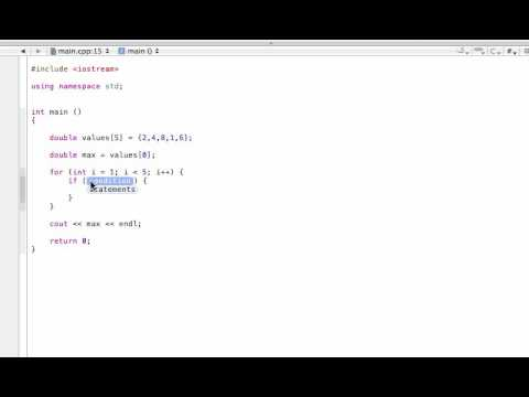 Find the max or min value in an array (C++ programming tutorial)