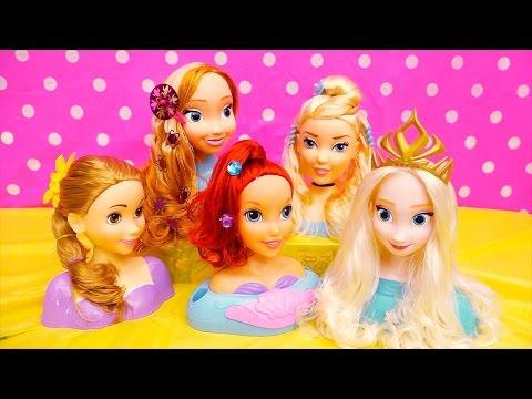 Disney Princess Doll Heads ! Toys and Dolls Fun Doing Hairstyles for Elsa, Anna, Ariel, Rapunzel