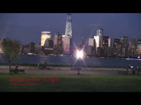 MANHATAN  VIEWS AT DUSK FROM LIBERTY STATE PARK NEW JERSEY