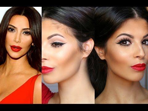 Kim Kardashian Makeup Tutorial | Red Lips Winged Liner