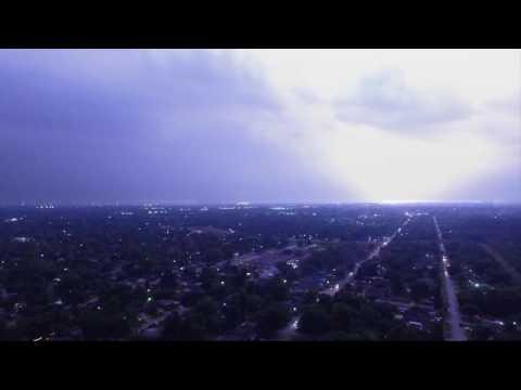 Flying DJI Phantom 3 in Lighting Storm - Houston, Texas