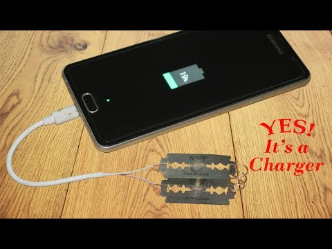 How to charge your phone using blades - Simple Life Hack