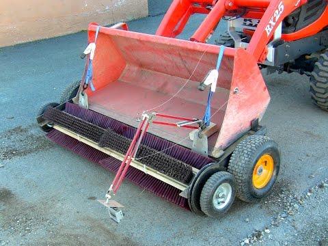 Homemade rotary broom for tractor bucket on Kubota BX