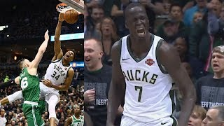 Giannis Dunks on Baynes! Thon Maker 5 Blocks Game 3! 2018 NBA Playoffs