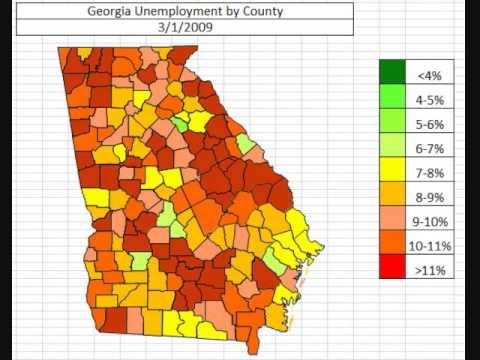 Map: Georgia Unemployment November 2013