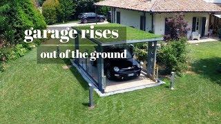 Garage Rises Out Of The Ground - Underground Garage - James Bond Style