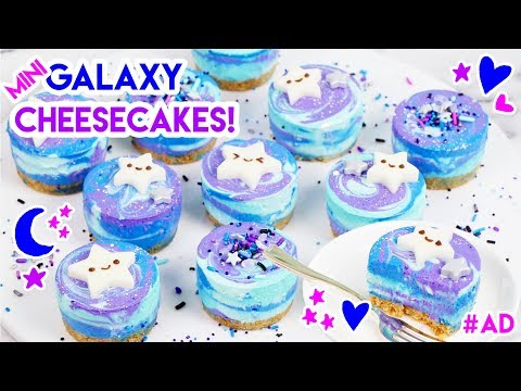 How to Make Mini No Bake Galaxy Cheesecakes!