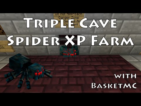 Triple Cave Spider XP Farm Tutorial - Minecraft 1.9/1.10/1.11/1.12 - Redstone Gift Basket