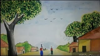 How to paint beautiful simple village scenry timelapse by brother s all tech or aman