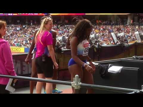 Womens 4 x 100 Relay heats & British team greeting fans afterwards.