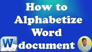 How To Alphabetize Word 2010 Document