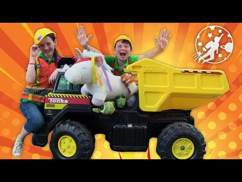 New Sky Kids Super Episode - Little Builders and The Kids Ride On Construction Trucks