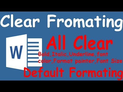How to Clear all formatting in Microsoft Word || Default Formatting in ms word 2007,2010,2013