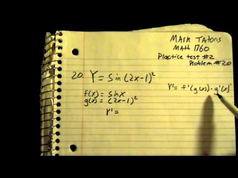 How to find the derivative of y=sin(2x-1)^2