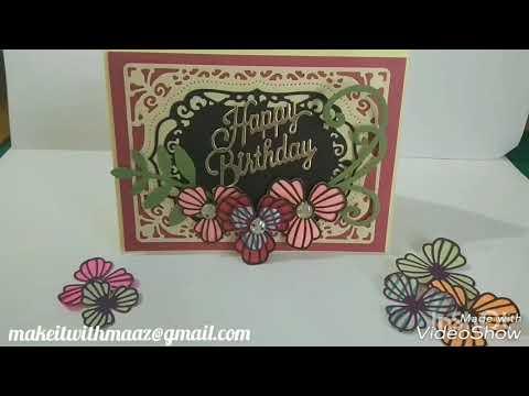 Card with aliexpress dies (three petal flower die)