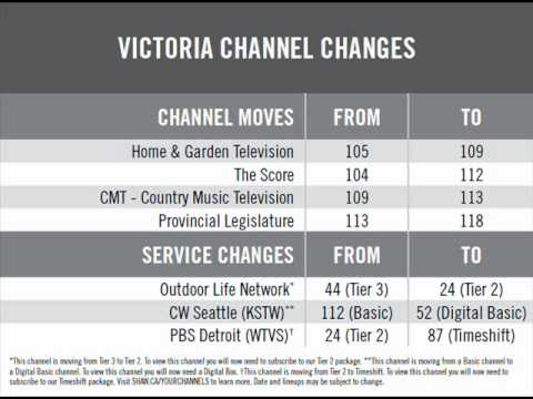 Shaw Cable Victoria Channel Changes -- Thursday, May 27th, 2010