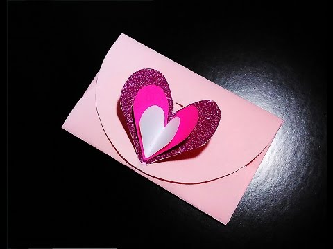 Easy heart envelope for Valentine's day 💖or greeting card with lock. No templates!