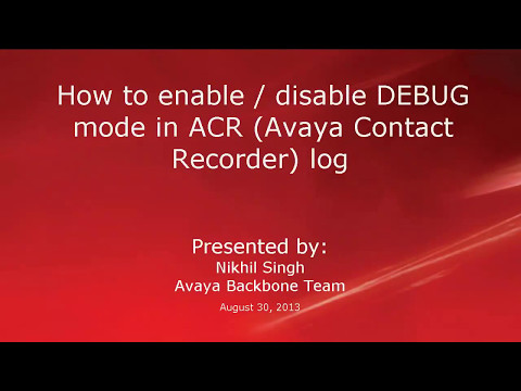 How to enable disable DEBUG mode in ACR log