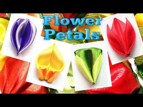 Kanzashi petals with ribbon, flower petals tutorial / Лепестки Канзаши