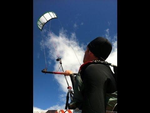 2010 Cabrinha Crossbow Kiteboarding Self launch and landing - Georgian Bay
