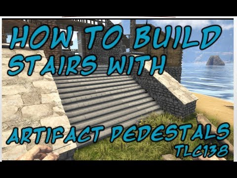 Ark-How to Build a Staircase with artifact pedestals on Consol
