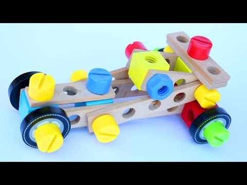 Kids Wooden Building Toys Car Truck Plane and Racing Car Play Doh Modelling Clay