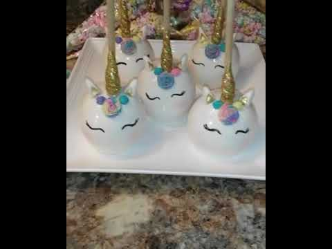 My Unicorn Treats.. Candy Apples and flavored popcorn