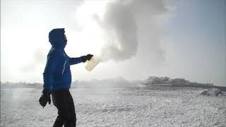 Boiling water INSTANTLY turns to snow in sub-zero temperatures