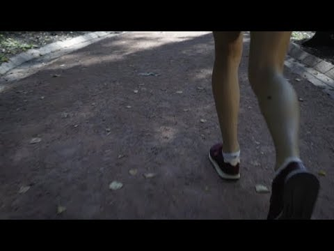 Legs of a Young Girl Jogging in a Park  | Stock Footage