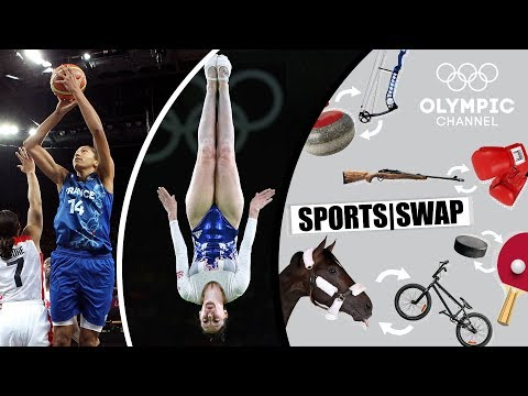 Basketball vs Trampoline - Emmeline Ndongue & Kat Driscoll | Sports Swap