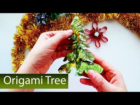 How to make a fluffy Christmas Tree made of Paper? Origami Hack for Kids. Christmas Decoration
