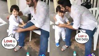 TaimurAliKhan Sweetly Goes & HUGS Mamujaan Adaar Jain & Plays Wid Him Isnide Bandra Home