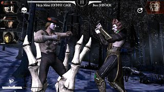 Mortal Kombat X Mobile - Ninja Mime Johnny Cage vs. Shinnok: FW & Challenge [60fps; Android/iOS]