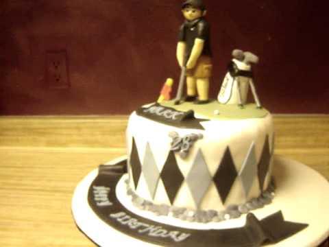 Golf themed fondant birthday cake