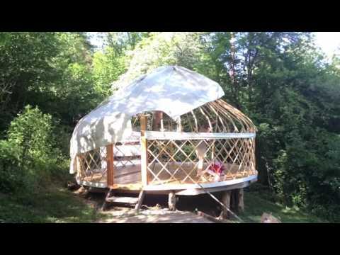 Assembling our yurt