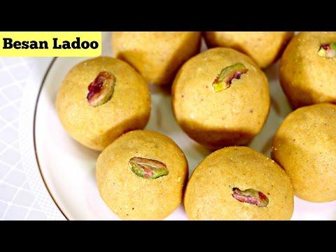 Besan Ladoo   Indian Sweet Recipes   How to make Besan laddu