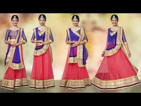 How to Wear Lehenga with new Style of Dupatta Draping,සාරියක් විවාහ මොහොතකට draping