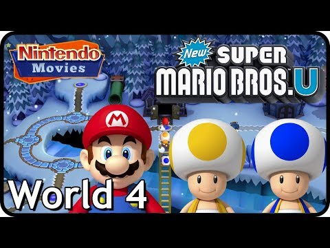 New Super Mario Bros. U: World 4 Frosted Glacier (All Star Coins 100% Multiplayer Walkthrough)