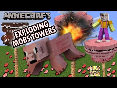 Mike's Minecraft Exploding Mobs Towers! Cruel Way to Spawn Pigs, Cows & More! (FGTEEV PE Tutorial)