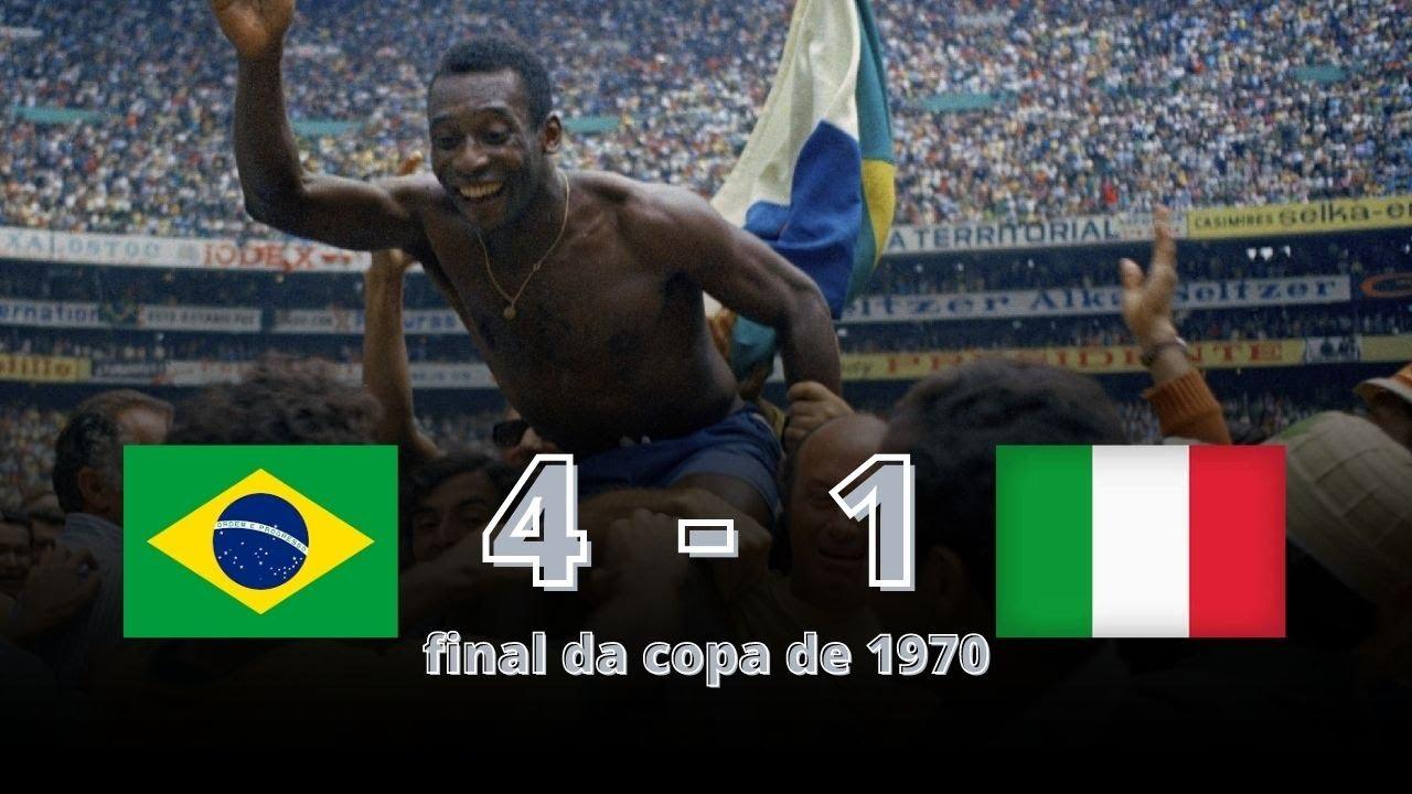 BRASIL 4 X 1 ITÁLIA - FINAL DA COPA DE 1970 - GOLS E MELHORES MOMENTOS