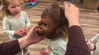 QUADRUPLETS REACTION TO A STAR WARS CHEWBACCA MASK IS PRICELESS