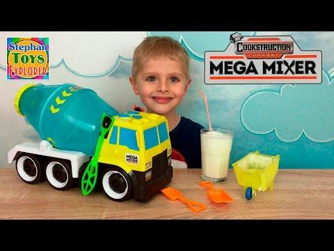 Огромная бетономешалка игрушка распаковка Mega Cement mixer toy unboxing Видео для детей